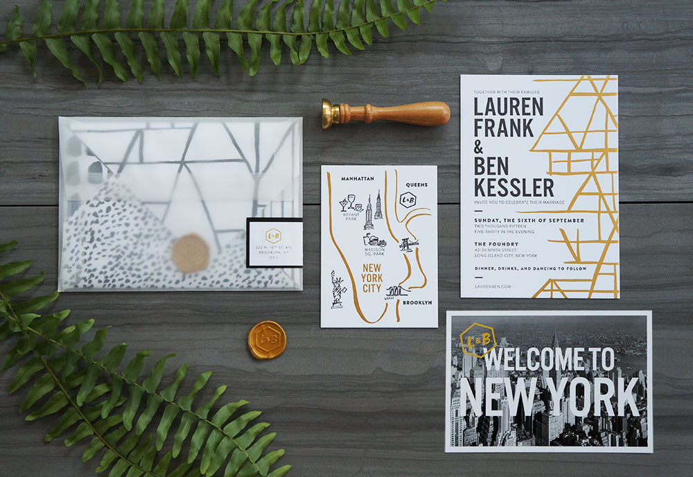 Modern Black White and Gold Geometric Wedding Suite