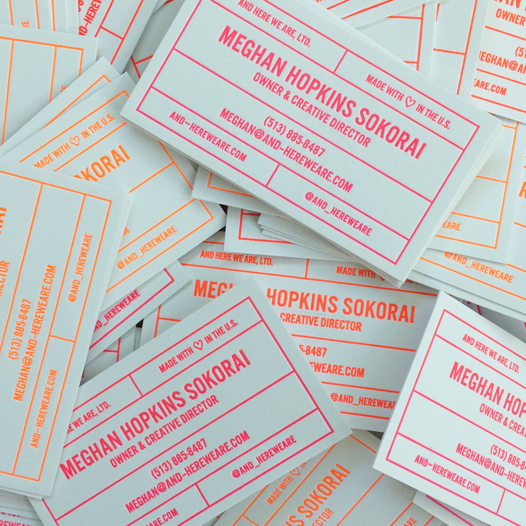 Split Fountain Neon Business Cards