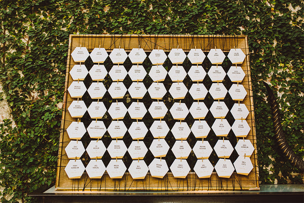 Modern black white and gold geometric custom wedding suite by And Here We Are www.and-hereweare.com