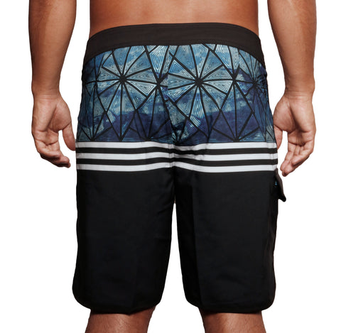 male modeling board shorts back