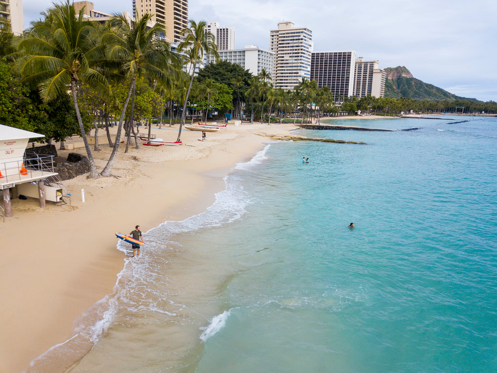 Waikiki beach during Covid shutdown