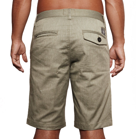 male modeling khaki shorts back