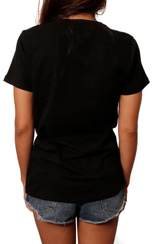 girl modeling core tee back