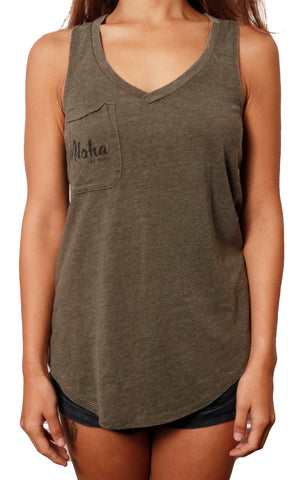 girl modeling pocket tank front