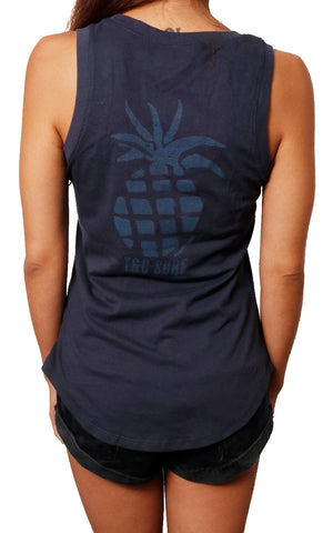 girl modeling scoop tank back