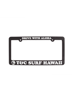 T&C Surf Designs Drive with Aloha License Plate, Black