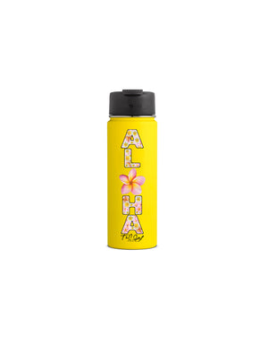 T&C Surf Designs T&C Surf 20 oz Plumeria Forever Hydro Flask Bottle, Lemon