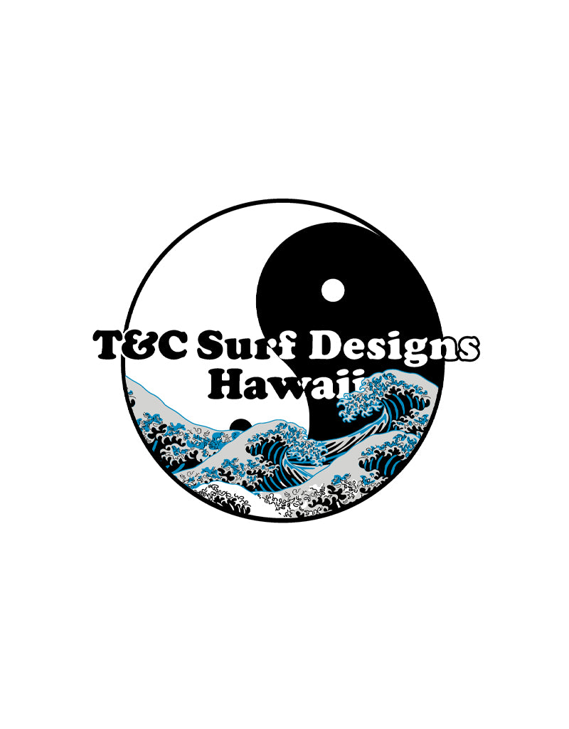 T&C Surf Designs T&C Surf Hokusai Wave Circle Sticker, White
