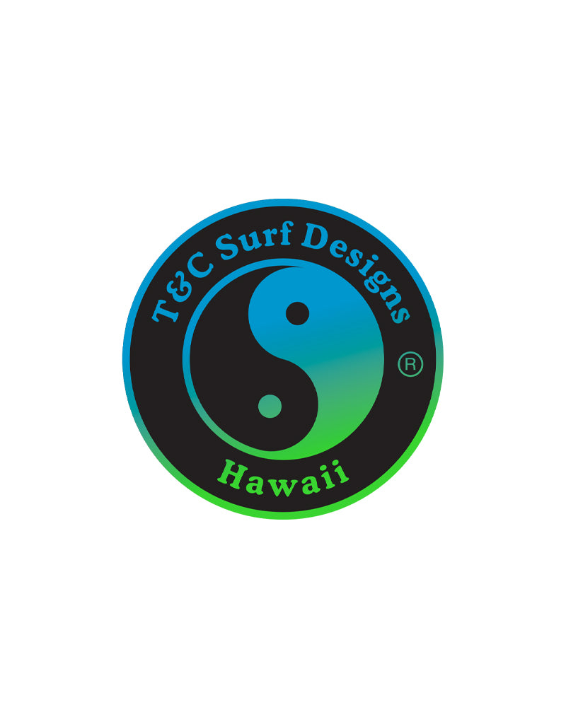T&C Surf Designs T&C Surf Shaved Ice Logo Sticker, Blue Green