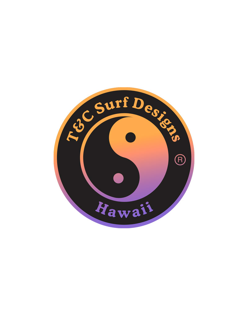 T&C Surf Designs T&C Surf Shaved Ice Logo Sticker, Orange Purple