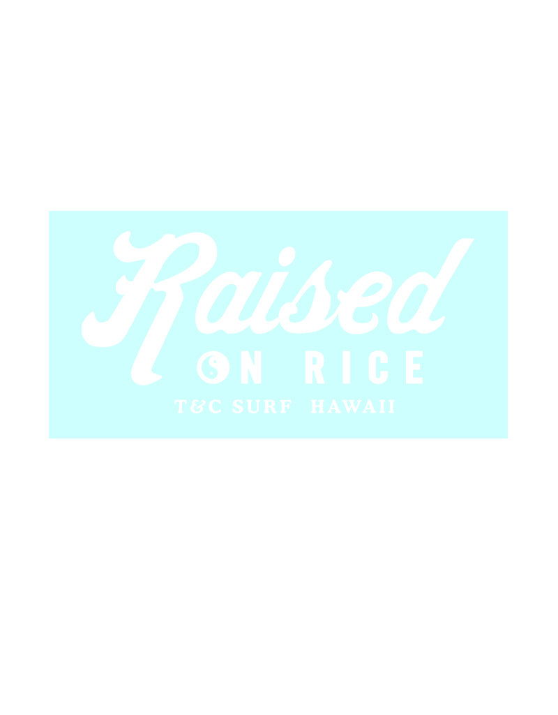 T&C Surf Designs T&C Surf Raised On Rice Sticker, White