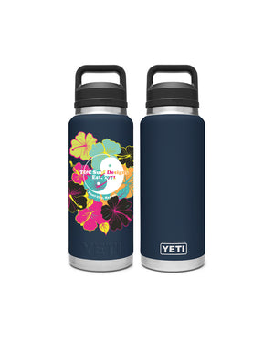 T&C Surf Designs T&C Surf 26 oz Puakenikeni 2 Rambler Yeti Bottle with Chug Cap, Navy