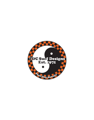 "T&C Surf Designs T&C Surf Vinyl Sticker 2"", Orange"
