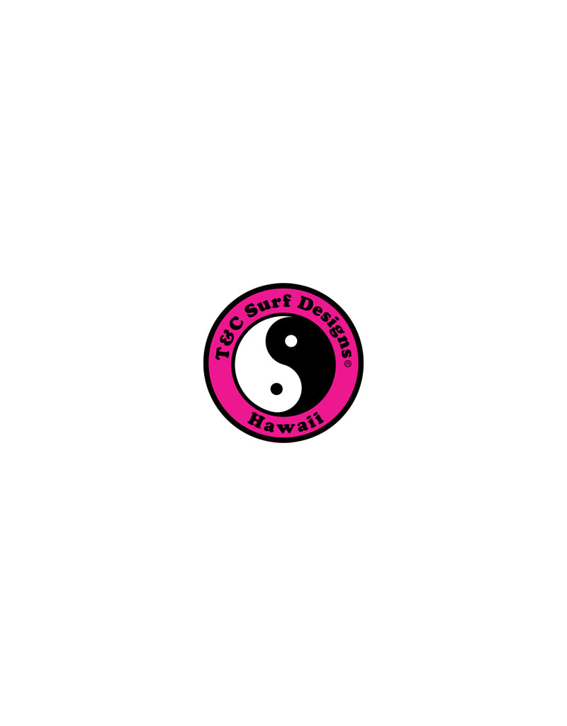 "T&C Surf Designs 2"" Standard Logo Vinyl Sticker, Pink"