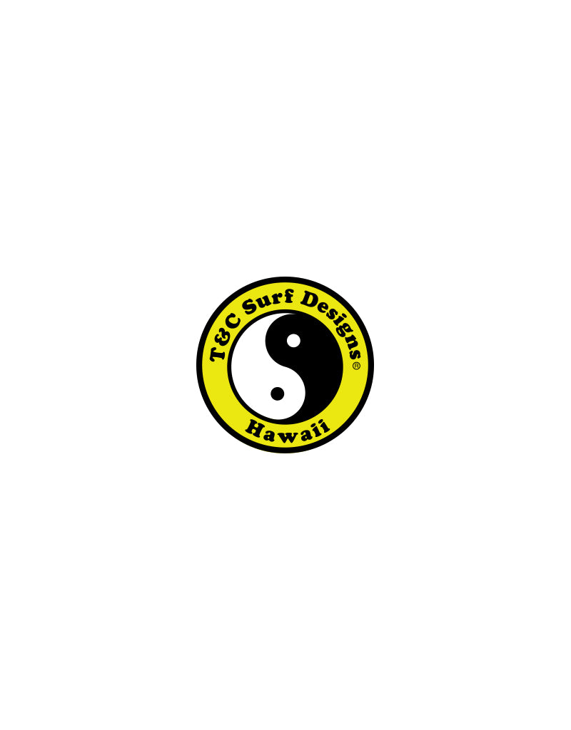 "T&C Surf Designs 2"" Standard Logo Vinyl Sticker, Yellow"