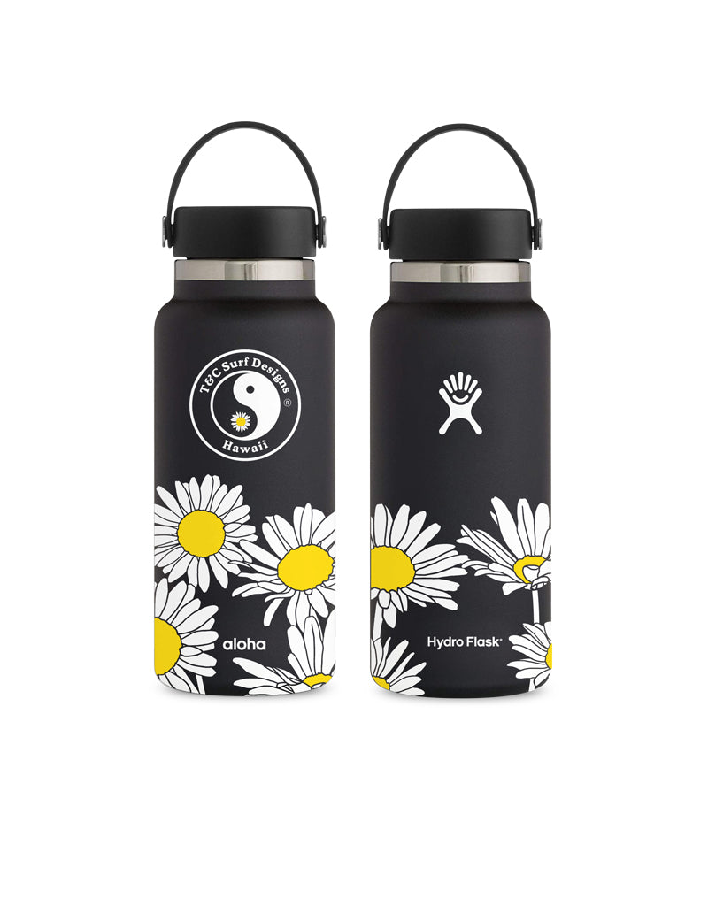 T&C Surf Designs T&C Surf 32 oz Daisy Hydro Flask, Black