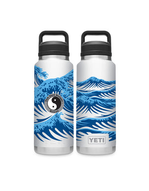 T&C Surf Designs T&C Surf 36 oz Hokusai Wave Rambler Yeti Bottle with Chug Cap, White