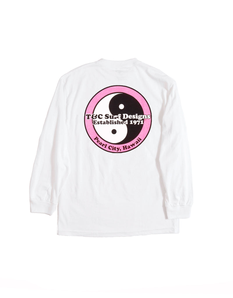 T&C Surf Designs Standard Logo Neon Long Sleeve, S / White Pink