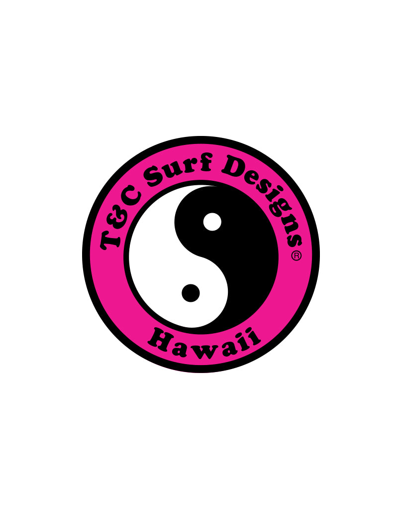 "T&C Surf Designs 6"" Standard Logo Vinyl Sticker, Pink"