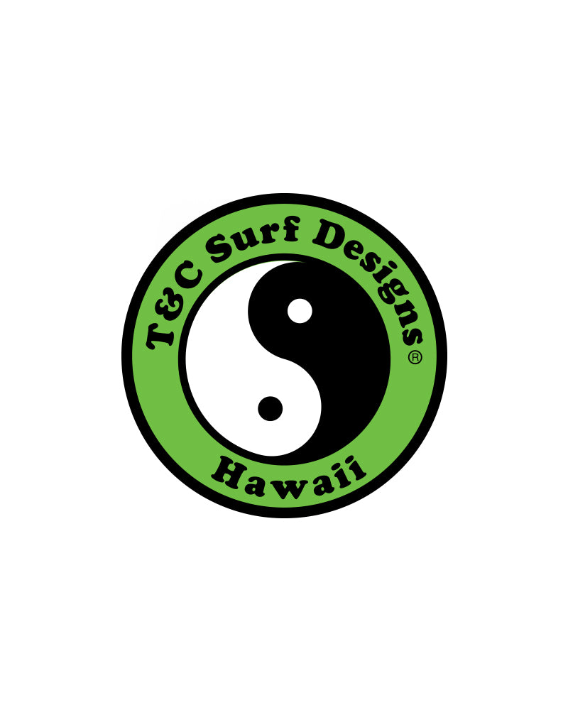 "T&C Surf Designs 6"" Standard Logo Vinyl Sticker, Green"