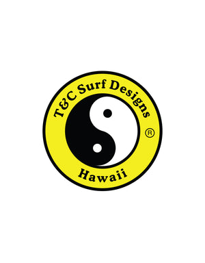 "T&C Surf Designs 6"" Standard Logo Vinyl Sticker, Yellow"