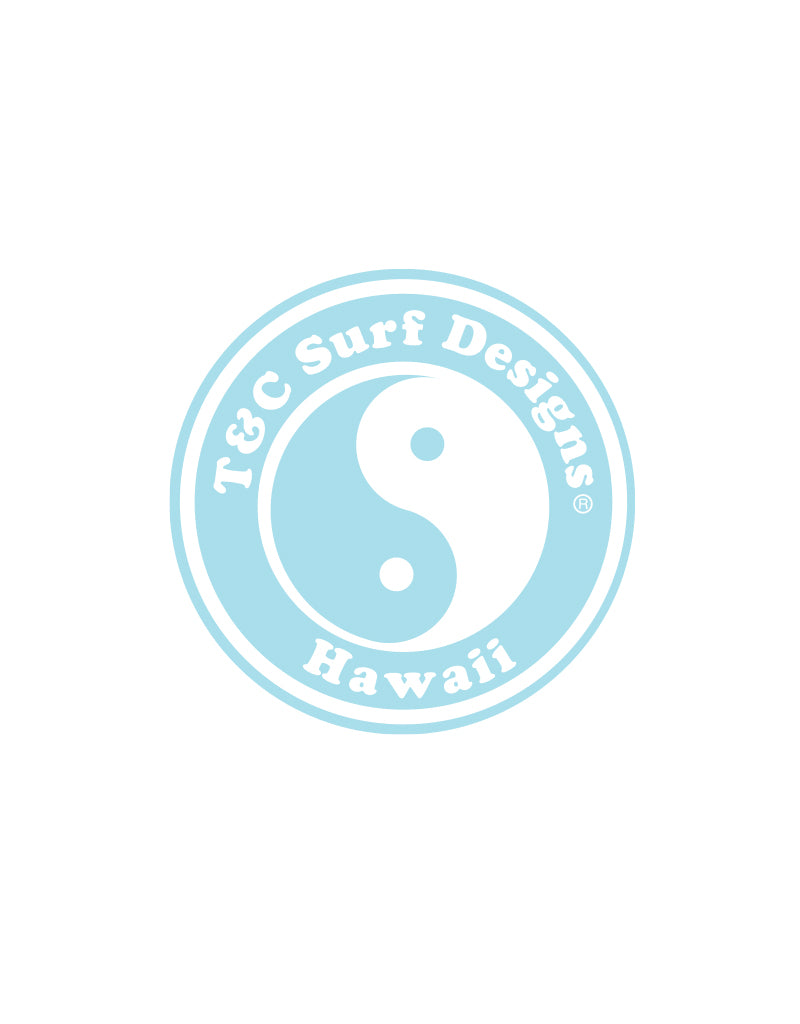 "T&C Surf Designs 6"" Standard Logo Vinyl Sticker, White Clear"