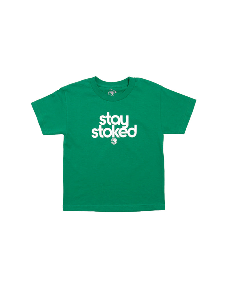 T&C Surf Designs Kids Stay Stoked Tee, XS / Kelly White