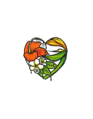 T&C Surf Designs Floral Heart Sticker, One