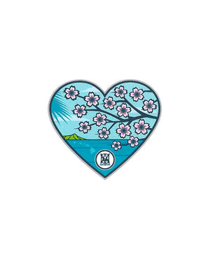 T&C Surf Designs Scenic Sakura Heart Sticker, One