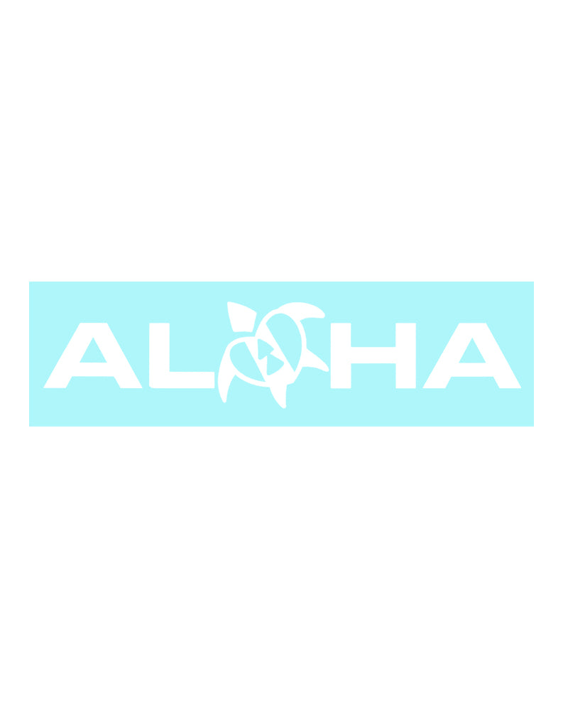 T&C Surf Designs Aloha With Heart Honu Sticker, White