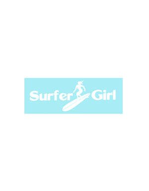 T&C Surf Designs Surfer Girl Die Cut Sticker, White