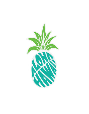 T&C Surf Designs Aloha Pine Hawaii Vinyl Sticker, Blue Green