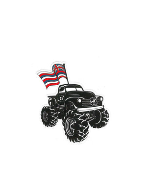 T&C Surf Designs H Icon Hawaiian Flag Monster Truck Sticker,