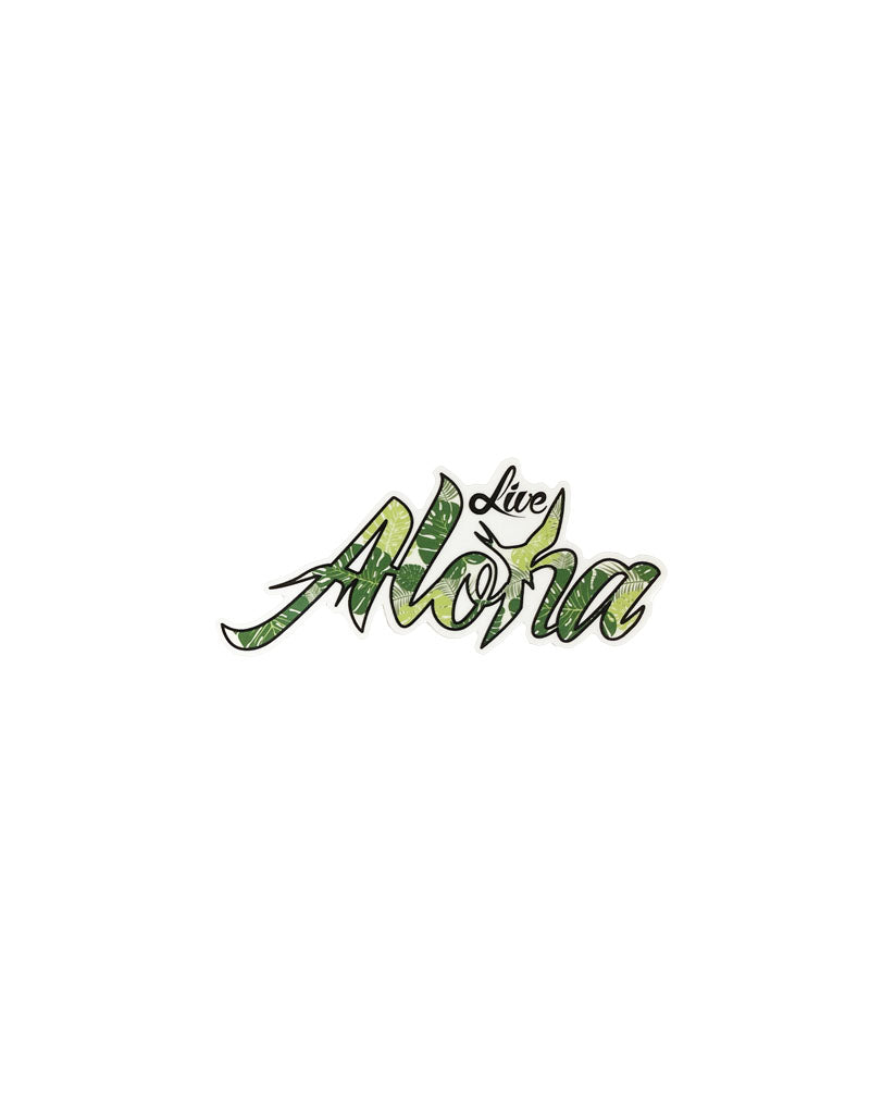 "T&C Surf Designs H Icon Live Aloha 4"" Green Monstera Sticker, Green"
