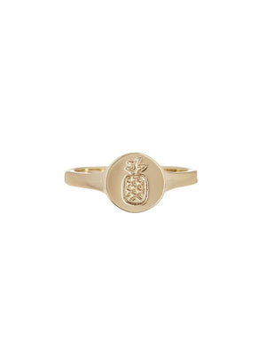 T&C Surf Designs Pura Vida Pineapple Coin Ring, Gold / 5