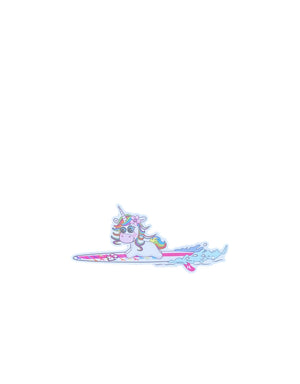 T&C Surf Designs H Icon 808 Unicorn He'enalu Wahine Sticker, White