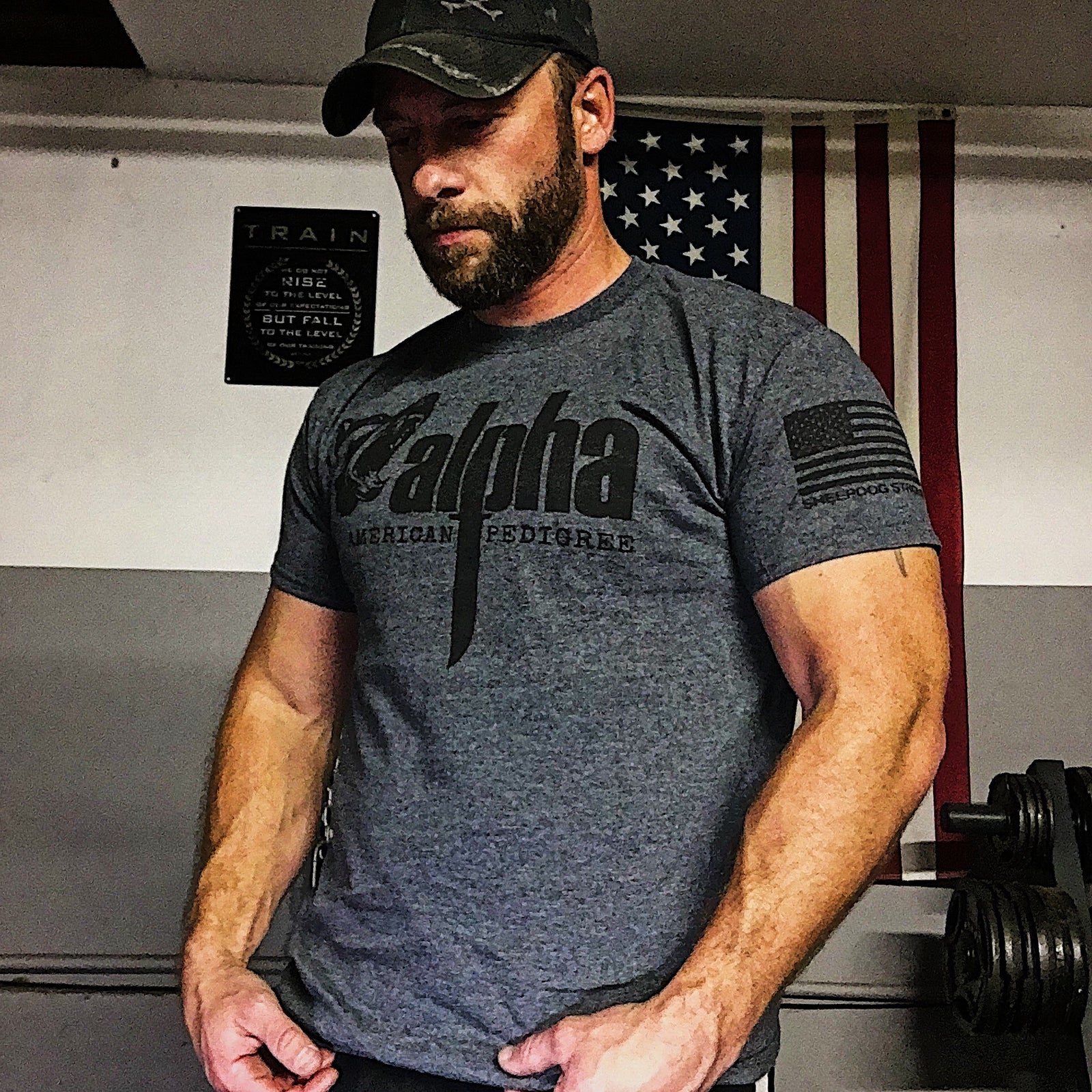 Alpha Men's T-Shirt | Dark Gray | Sheepdog Strong Military Tees