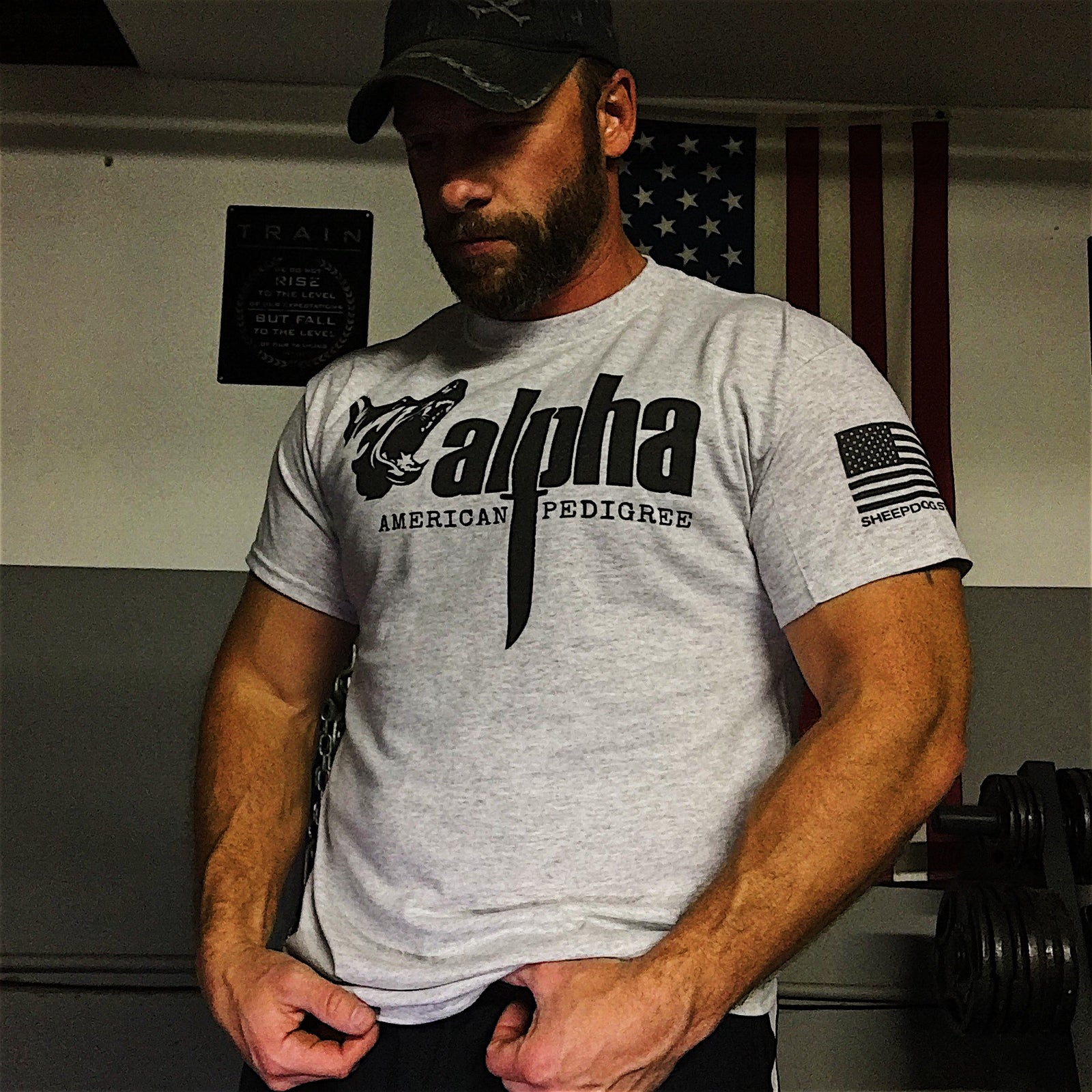 Light Gray Men's Tee Shirt | Military Veteran Clothing | Badass Military Shirts | Sheepdog Strong