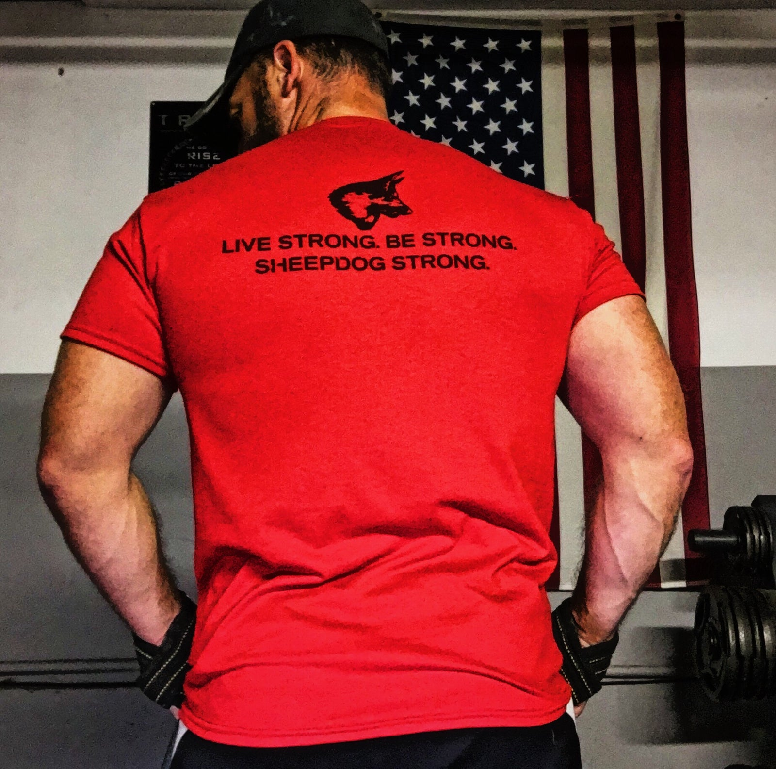 Live Strong, Be Strong, Sheepdog Strong Red T-Shirt | Badass Military Shirt