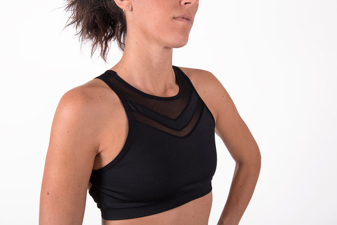 Crop Top nero reggiseno sportivo veronica
