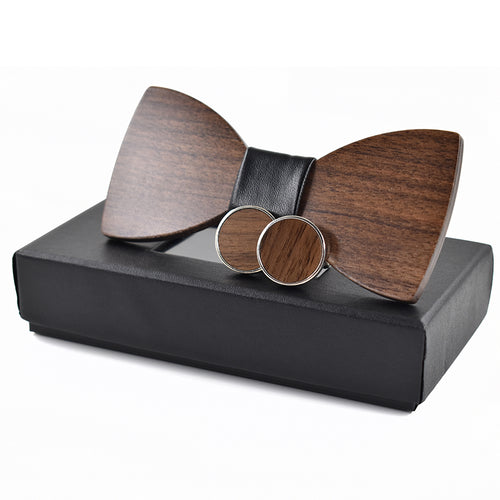 Fashion Wedding Wood Bow Tie & Cufflinks