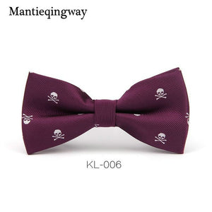 Men's Polyester Silk Bow Tie Skull