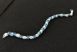 Silver and Niobium Chain Maille Bracelet