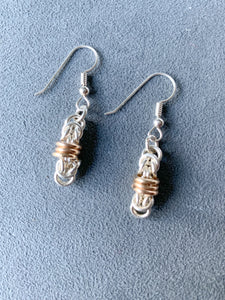 Silver and Gold Floating Rings Chain Maille Earrings