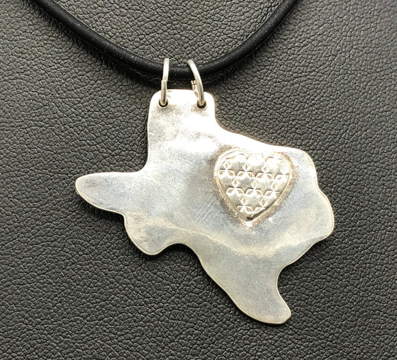 Heart of Texas Fine Silver Pendant