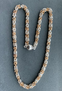 Sterling Silver And Gold Filled Byzantine Chain Maille Necklace