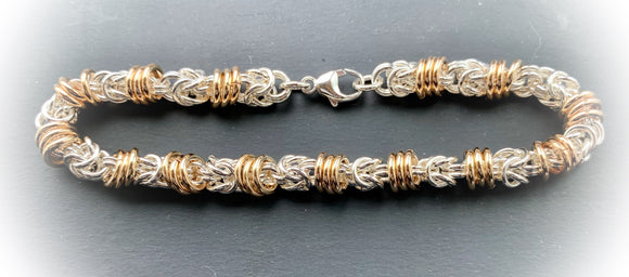 Silver and Gold Floating Rings Chain Maille Bracelet
