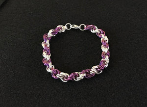 Silver and Niobium Double Spiral Chain Maille Bracelet