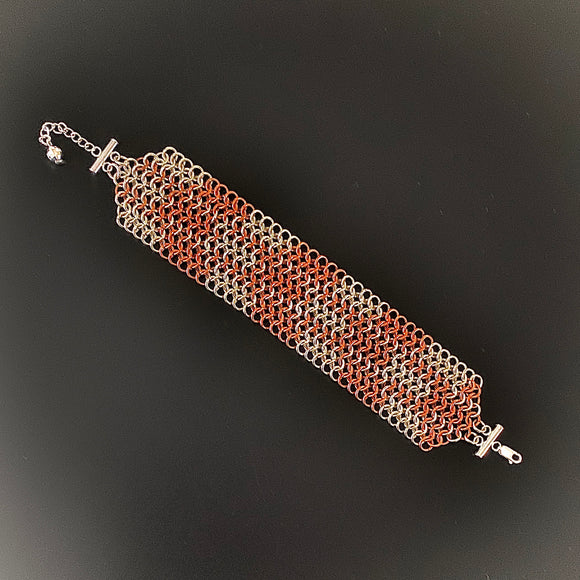Copper and Sterling Silver Chain Maille Bracelet