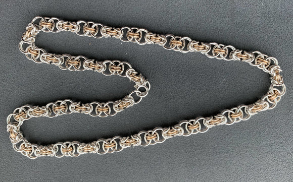 Silver and Gold Combo Chain Maille Necklace